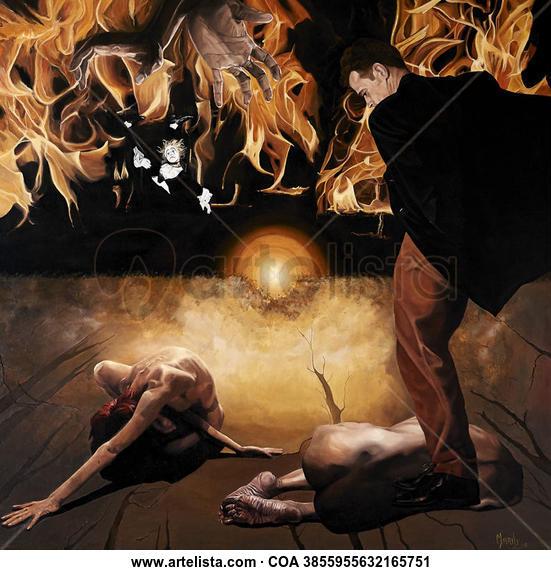 El Eden y El Infierno Desnudos Óleo Lienzo