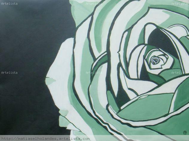 una rosa blanca Acrílico Lienzo Floral