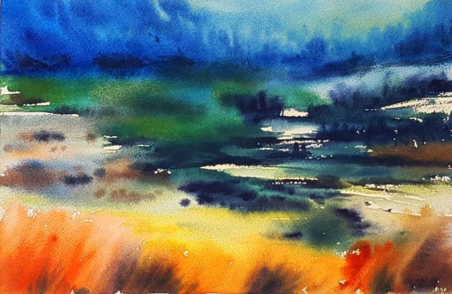 paisaje aragones en primavera Landscaping Watercolour Paper