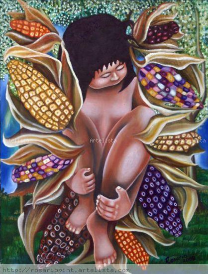 ...como el maíz Lienzo Acrílico Figura