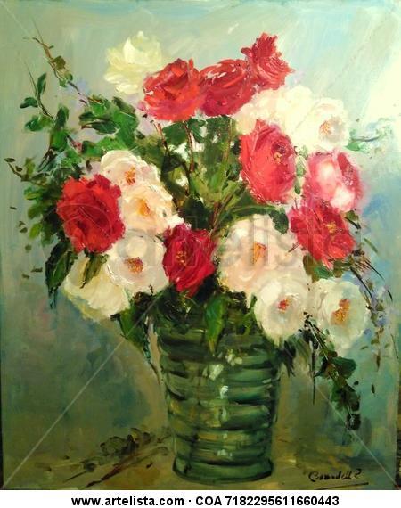 jJARRON DE CRISTAL CON ROSAS ROJAS Y BLANCAS Lienzo Óleo Floral