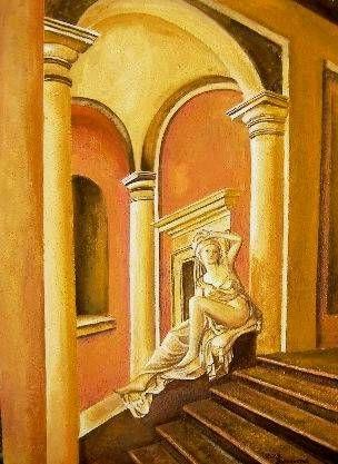 Mujer en esaleras Óleo Lienzo Figura