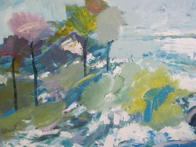 paisaje inundado con árboles