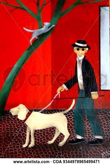 Man with a dog Figura Acrílico Otros
