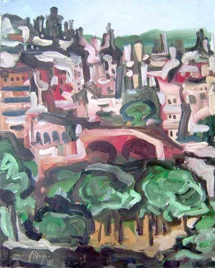 Casas de la ciudad y parque Óleo Lienzo Paisaje