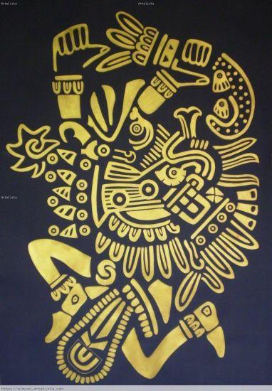 Quetzalcoatl, serpiente emplumada, Dios del viento Papel Acrílico Paisaje
