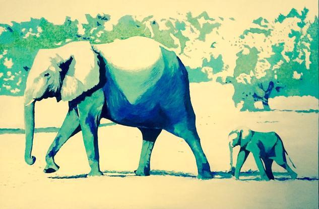 Serie elefantes Tabla Óleo Animales