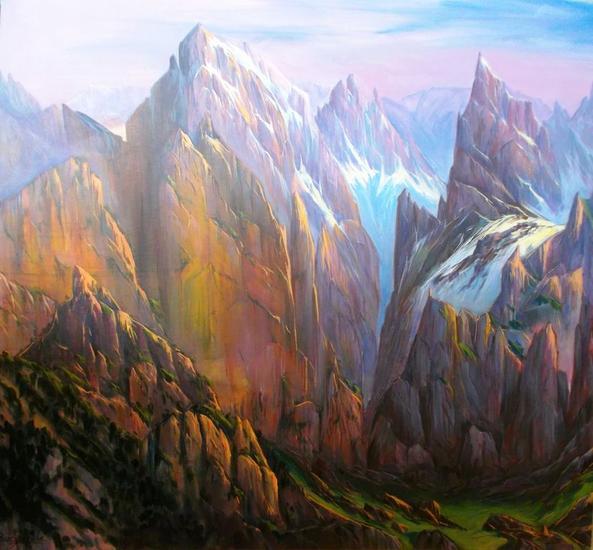Picos de Europa-Iluminaciones doradas - 237 Lienzo Acrílico Paisaje