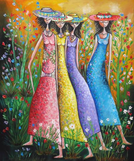 Cuatro modelos Lienzo Óleo Retrato