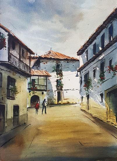 calle en cangas del narcea Landscaping Watercolour Paper