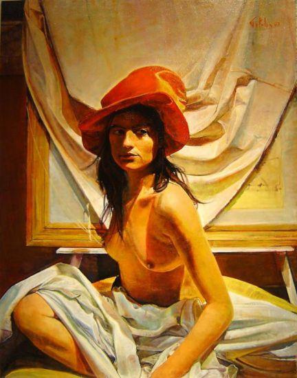 La Mujer del Sombrero Rojo lV Panel Oil Figure Painting