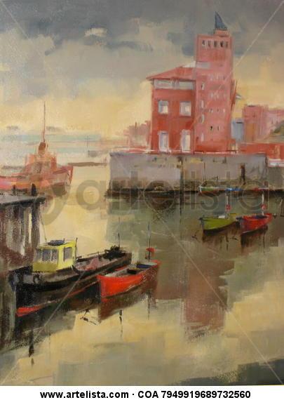Puerto de Portugalete Oil Canvas Marine Painting