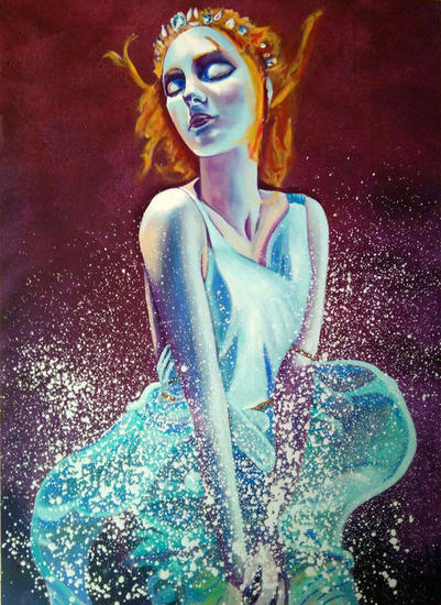 """Underwater"" Óleo Retrato Lienzo"