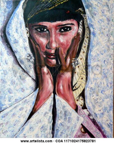 Dama de oriente Canvas Oil Portrait