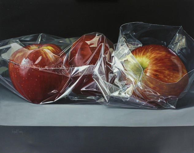 Bolsa con tres manzanas Bodegones Óleo Lienzo