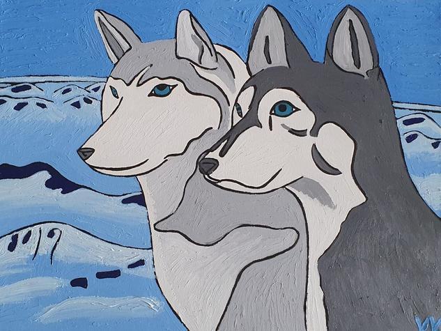 Huskies Animales Óleo Lienzo