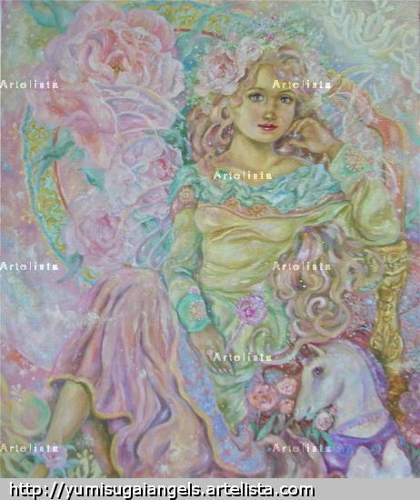 Yumi Sugai,The fairy of the pink tulip.poster. Lienzo Óleo Figura