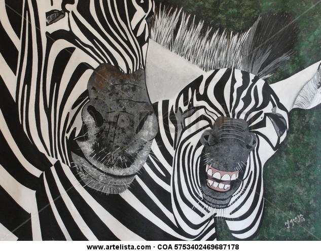 Cebra contenta Lienzo Acrílico Animales