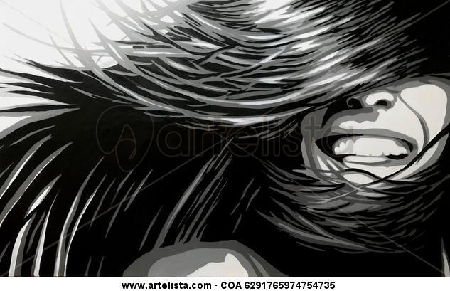 Sonrisa al viento Figura Lienzo Acrílico