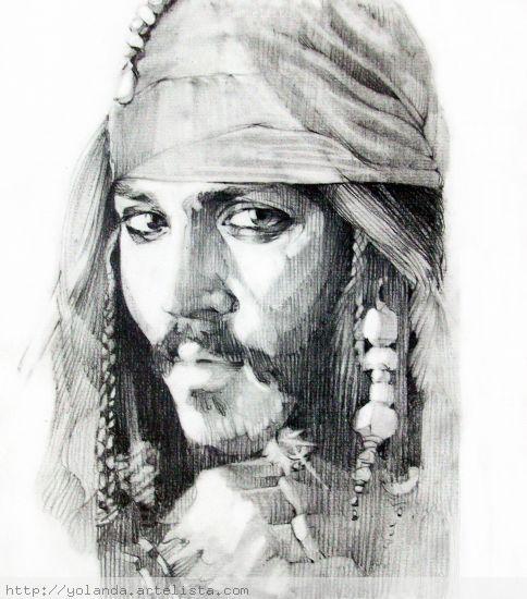 Jack Sparrow en Piratas del Caribe Lápiz