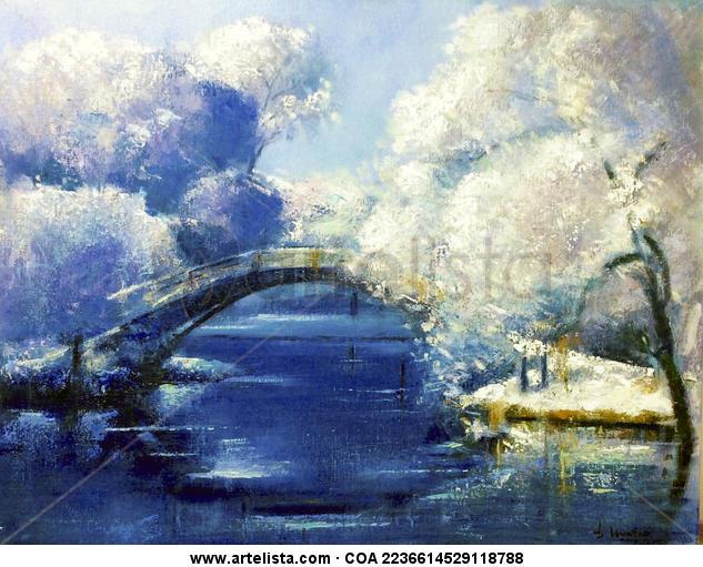 El puente japonés Lienzo Óleo Paisaje