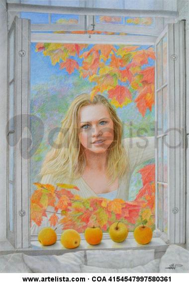 Ventana en otoño 1 Cartulina Lápiz (a color) Paisaje