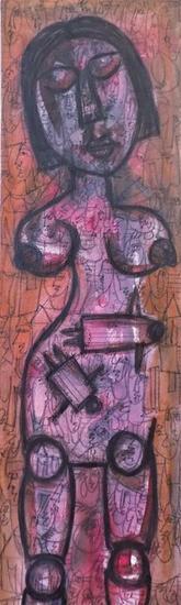 Mujer - Hunseul Dorvil - Arte de Haití Retrato Media Mixta Lienzo