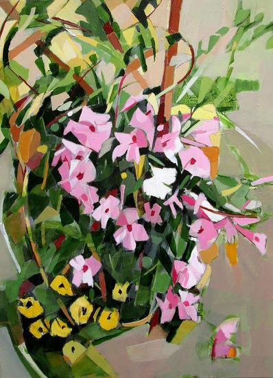 Flor blanca Floral Painting Acrylic Canvas