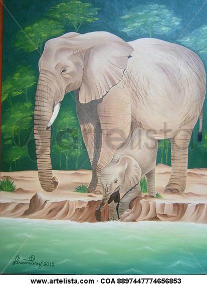A família elefante Tela Óleo Animales