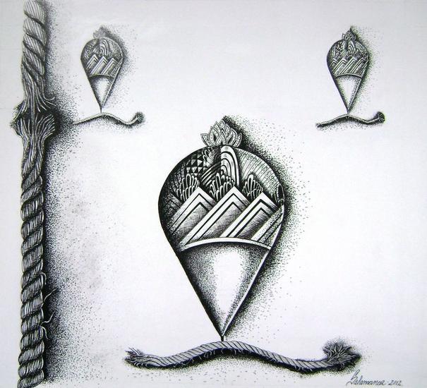 La cuerda floja Cartulina Óleo Figura