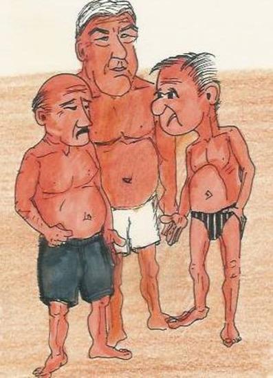 pensioners / cartoon Tinta Papel Otros