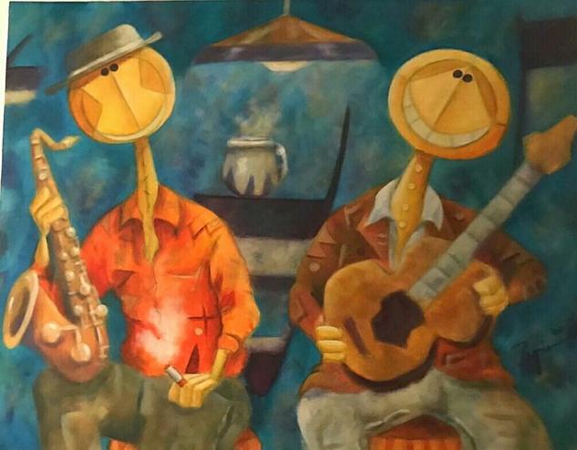 Entre amigos Canvas Acrylic Figure Painting
