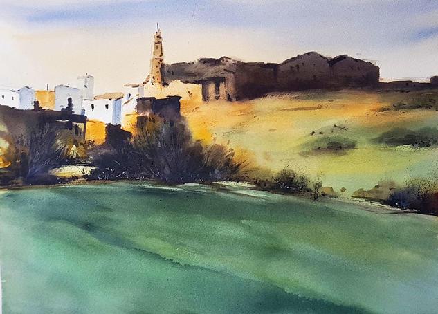 paisaje cordobes al atardecer Landscaping Watercolour Paper