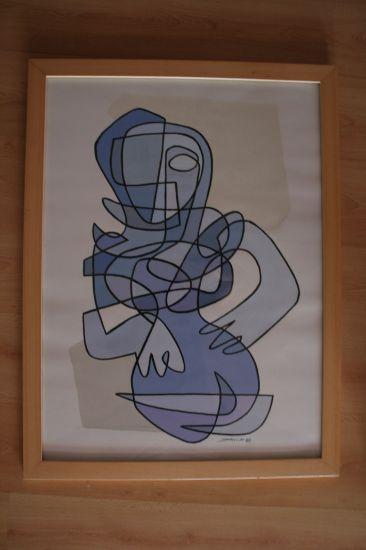 Muller en azul Óleo Lienzo Paisaje