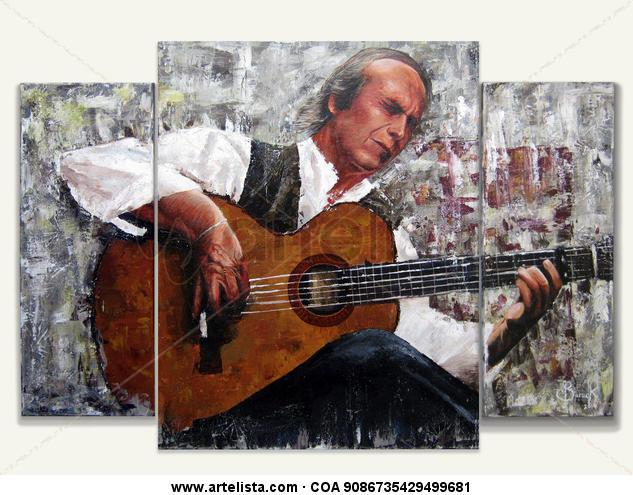 The Master - El Maestro ( Paco de lucia) Lienzo Acrílico Retrato