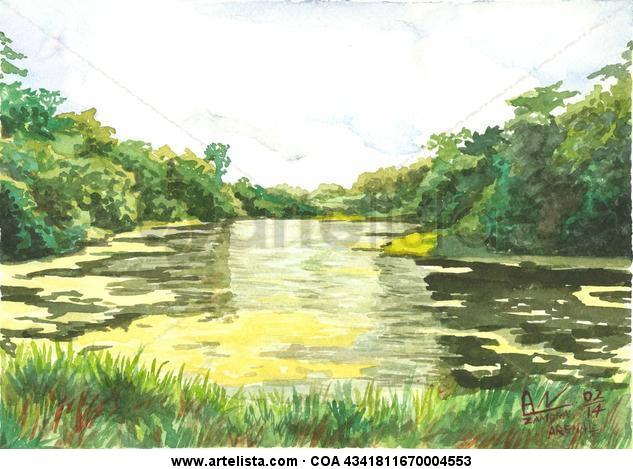 Lago en el Arenal Papel Acuarela Paisaje