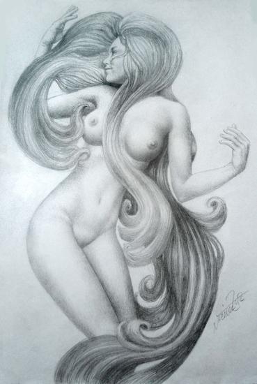 Boceto para Sirenas 2 Grafito