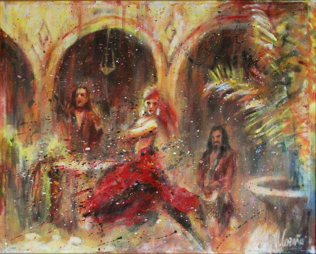 De flamenco en patio andaluz Otros Acrílico Tela
