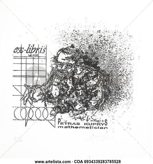 EXLIBRIS PETRAS KUPRIYS Litografía