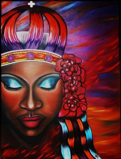 Orgullosa etnia negra Retrato Óleo Lienzo
