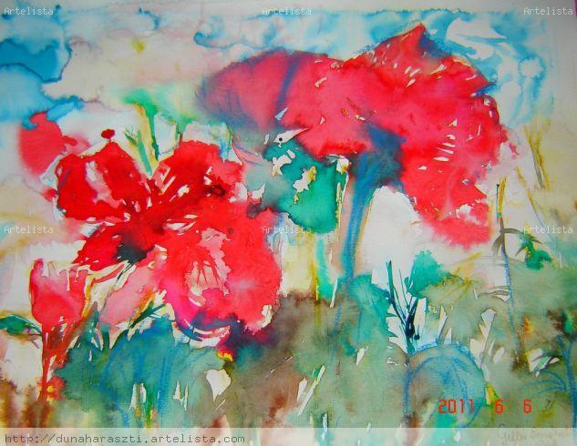 Prado de adormidera Acuarela Papel Floral