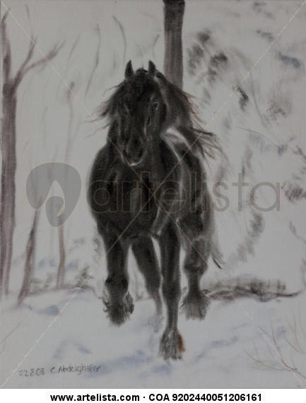 Friesan horse in winter Animales Óleo Tela