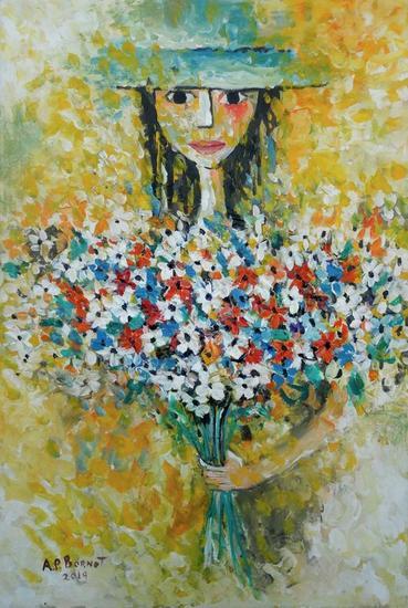 Dama con flores VI Figura Acrílico Lienzo