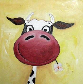 La vaca y la flor Óleo Lienzo Animales