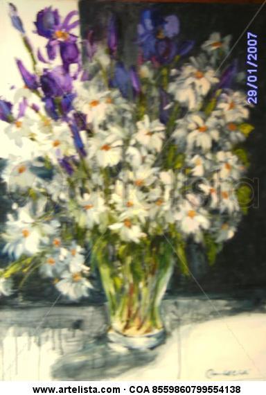 Margaritas e Iris violeta Lienzo Óleo Floral