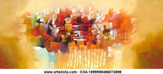 Abstracto Lienzo Óleo Otros