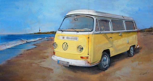 Dreams on the beach Paisaje Óleo Tabla