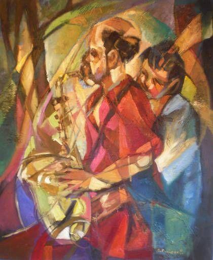 Romance Musical Óleo Lienzo Figura