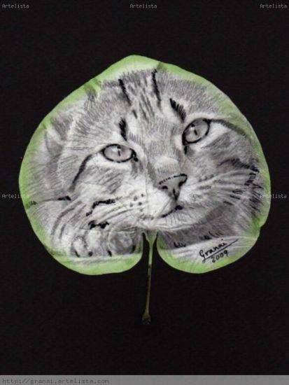 hoja natural con gato