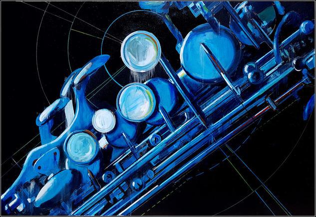 Blue Sax Lienzo Media Mixta Figura